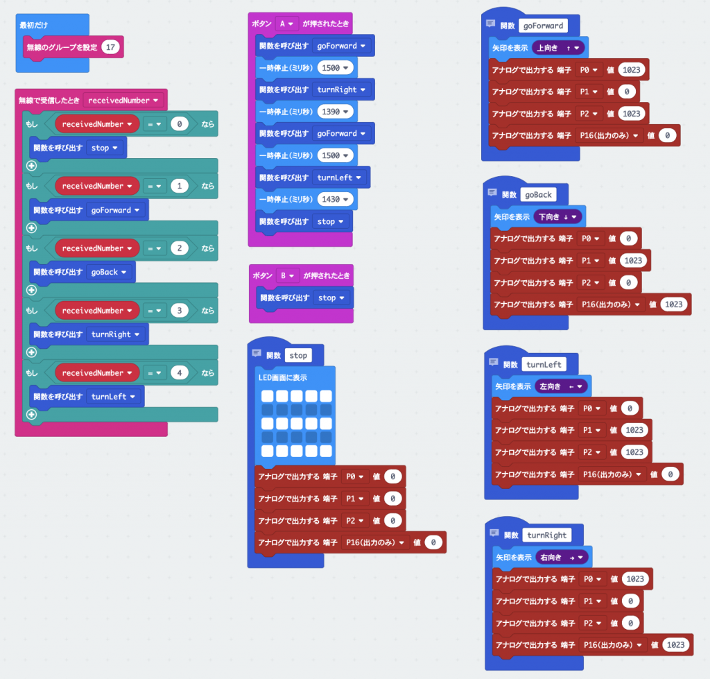 micro:bit 戦車 無線操作プログラム(全体)